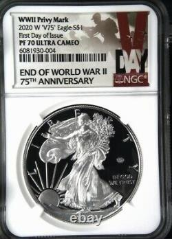 2020 W End Of World War II V75 American Silver Eagle Ngc Pf70 Fdoi En Stock