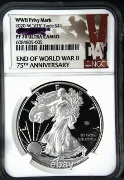 2020 W End Of World War II V75 Silver American Eagle Ngc Pf 70 Prévente