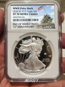 2020 W Fin De La Seconde Guerre Mondiale 75 American Silver Eagle V75 Ngc Pf70 Iwo Jima Label! 0