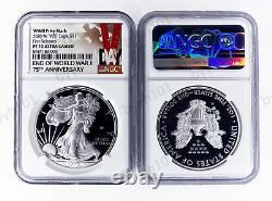2020 W Fin De La Seconde Guerre Mondiale 75e Aigle D'argent Américain V75 Ngc Pf70 Deuxième Jour