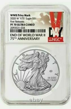 2020 W Fin De La Seconde Guerre Mondiale 75e Aigle D'argent Américain V75 Ngc Pf70 Presale
