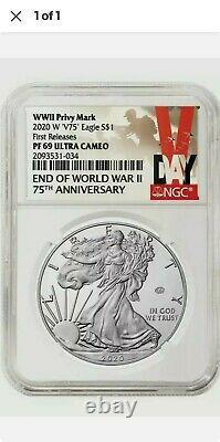 2020 W Fin De La Seconde Guerre Mondiale 75e American Silver Eagle V75 Ngc Pf69 69 Presale