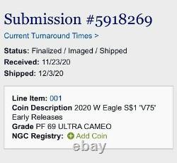 2020 W Fin De La Seconde Guerre Mondiale 75e American Silver Eagle V75 Ngc Pf69 Ultra Wwii