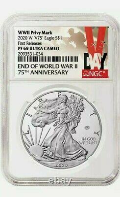 2020 W Fin De La Seconde Guerre Mondiale 75e Anniversaire American Eagle V75 -ngc Pf69 Presale
