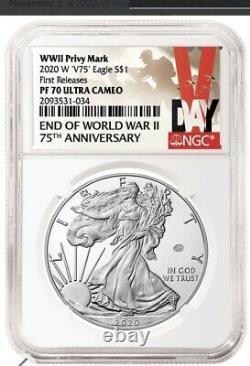 2020 W Fin De La Seconde Guerre Mondiale American Silver Eagle V75 -ngc Pf70 Prévente