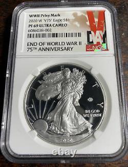 2020 W Fin De La Seconde Guerre Mondiale V75 Silver American Eagle Ngc Pf 69