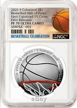 2020-p Basketball Hof Colorisation Proof Silver Dollar, Ngc Pf70 Uc, First Release