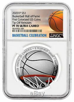 2020p $ 1 Basketball Hall Fame Silver Dollar Colorisation Ngc Pf70uc Tip Off Presale