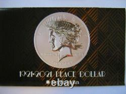 2021-1921 Smithsonian 2oz -100th Anniversary Peace Silver Dollar Fdoi Reverse Pf