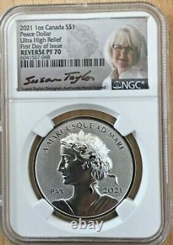 2021 Canada Peace Dollar Reverse Proof Ngc Pf70 1oz Silver Fdoi Taylor Signed