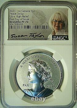 2021 Canada S$1 Dollar De La Paix Uhr Reverse Proof Ngc Rev Pf70 Edi -taylor