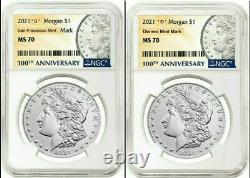 2021 Morgan Silver Dollar Ngc Ms 70' S' &' D' Menthe Mark Presale Lire