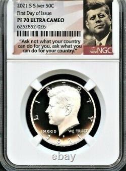 2021 S Argent 99,9 Kennedy Demi-dollar Premier Jour D'émission Ngc Pf70 U. C-in Stock