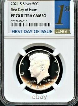 2021 S Argent 99,9 Kennedy Demi-dollar Premier Jour D'émission Ngc Pf70 Ultra Cameo