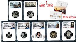 2021 Us Monnaie Preuve 7-coin-set Dime Demi-penny Nickel Quarter Dollar Ngc Pf70 Er