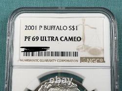 2 Pièces 2001-p, 2001-d American Buffalo Silver Dollar Pièces Ngc Ms69 & Pr69