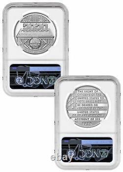 2pc 2020p Femmes Silver Dollar Suffrage Et Ensemble De Médailles Ngc Pf70 En Mercanti Signed