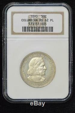 50c Half Dollar 1893 Ms62 Pl Ngc Colombienne Comme Preuve Scarce Grade Choix