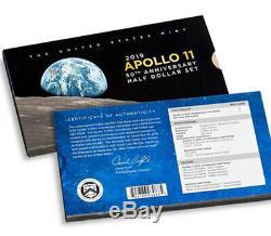 Apollo 11 50e Anniversaire Set 2pc Demi-dollar Ngc Preuve 70 Publie Son Premier