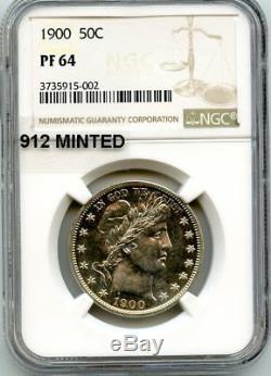 C10821- 1900 Preuve Barber Half Dollar Ngc Pf64 912 Minted