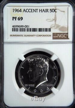 Cheveux 1964 Kennedy Mis En Valeur Demi-dollar Preuve 69