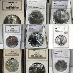 Ensemble Complet De Pièces De Monnaie Us Silver Eagle Dollar Set M69 Ngc Pcgs (1986-2021)
