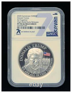 Ensemble Très Rare Et Précieux Donald Trump. 999 Pièces D'argent Trois. 1, 2 Et 5 Oz