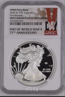 Erreur 2020 W Fin De La Seconde Guerre Mondiale 75e American Silver Eagle V75 Ngc Pf69 Wwii