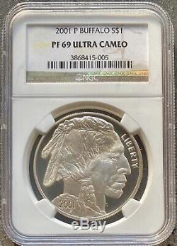 États-unis 2001 P Buffalo Un Dollar Gedenkmünze Preuve Ngc Pf 69 Ultra Cameo # 23029