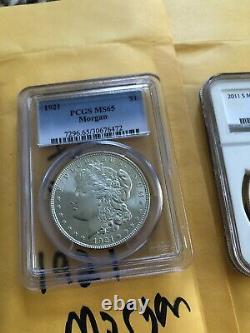 Lot De 1921 Ms65 Ms70 Pr Morgan Silver Dollar, 2016 Us Mint Preuve Eagle Pièce De Monnaie Ensemble