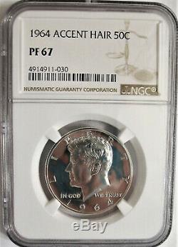 Lot De Un Ngc-certifié, Pf67, 1964 Argent Kennedy Half Dollar Avec Accented Cheveux