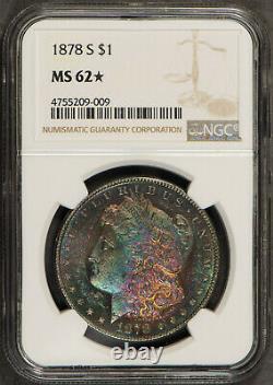 Monster Toned 1878-s Morgan Dollar Ngc Ms 62 Star Proof-like Obv Pq Rainbow