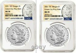 Ngc Ms 70 Morgan 2021 Silver Dollar CC Privy Mark! & Ngc Ms 70 Morgan 2021 O