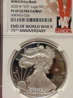 Ngc Pf69 2020 W End Of World War II 2 75th Silver American Eagle V75 69 Pr69