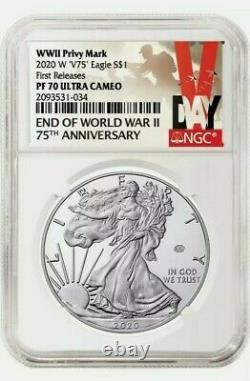 Ngc Pf70 2020 W Fin De La Seconde Guerre Mondiale 75e Silver American Eagle V75 70 Pr70 First