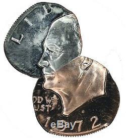 Ngc $-s Ike 1972 Dollar Frappé Sur Dime & Cent Planchet 2-coin Accouplé Paire Pf67
