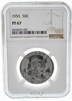 Pf67 1955 Franklin 90% D'argent Demi-dollar Ngc Souffle Blanc Proof De Jeu