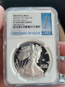 Premier Jour! 2020 W Fin De La Seconde Guerre Mondiale 75e American Silver Eagle V75 Ngc Pf70