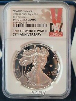 Premier Ngc Pf70 2020 W Fin De La Seconde Guerre Mondiale 75 Silver American Eagle V75 70 Cameo